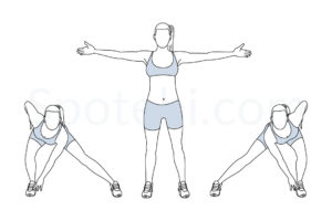 Alternating side lunge touch exercise guide with instructions, demonstration, calories burned and muscles worked. Learn proper form, discover all health benefits and choose a workout. http://www.spotebi.com/exercise-guide/alternating-side-lunge-touch/
