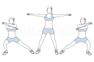 Arms cross side lunge exercise guide with instructions, demonstration, calories burned and muscles worked. Learn proper form, discover all health benefits and choose a workout. http://www.spotebi.com/exercise-guide/arms-cross-side-lunge/