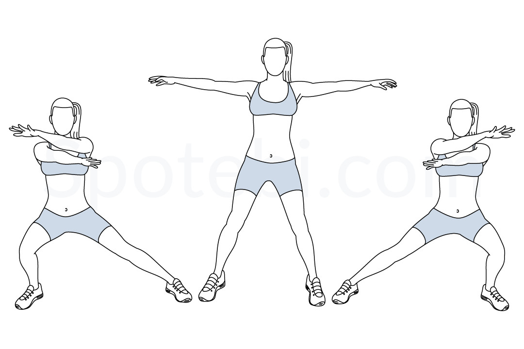 Arms cross side lunge exercise guide with instructions, demonstration, calories burned and muscles worked. Learn proper form, discover all health benefits and choose a workout. https://www.spotebi.com/exercise-guide/arms-cross-side-lunge/
