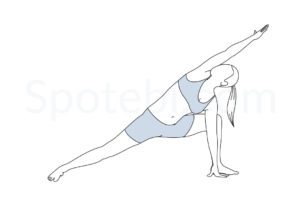 Extended side angle pose (Utthita Parsvakonasana) instructions, illustration, and mindfulness practice. Learn about preparatory, complementary and follow-up poses, and discover all health benefits. http://www.spotebi.com/exercise-guide/extended-side-angle-pose/