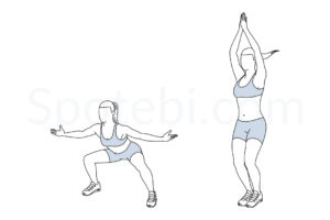 In and out jacks exercise guide with instructions, demonstration, calories burned and muscles worked. Learn proper form, discover all health benefits and choose a workout. http://www.spotebi.com/exercise-guide/in-and-out-jacks/
