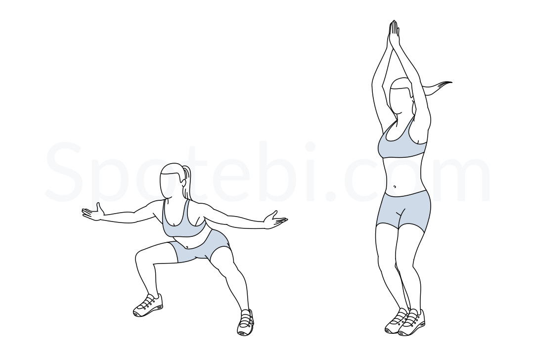In and out jacks exercise guide with instructions, demonstration, calories burned and muscles worked. Learn proper form, discover all health benefits and choose a workout. https://www.spotebi.com/exercise-guide/in-and-out-jacks/