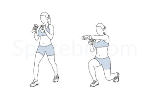 Lunge punch exercise guide with instructions, demonstration, calories burned and muscles worked. Learn proper form, discover all health benefits and choose a workout. http://www.spotebi.com/exercise-guide/lunge-punch/