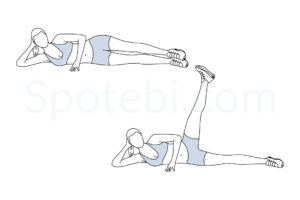 Side lying hip abduction exercise guide with instructions, demonstration, calories burned and muscles worked. Learn proper form, discover all health benefits and choose a workout. http://www.spotebi.com/exercise-guide/side-lying-hip-abduction/
