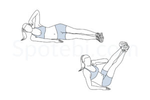 Oblique V crunch exercise guide with instructions, demonstration, calories burned and muscles worked. Learn proper form, discover all health benefits and choose a workout. https://www.spotebi.com/exercise-guide/oblique-v-crunch/
