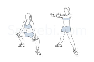 Plie squat scoop up exercise guide with instructions, demonstration, calories burned and muscles worked. Learn proper form, discover all health benefits and choose a workout. https://www.spotebi.com/exercise-guide/plie-squat-scoop-up/