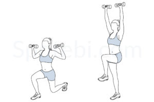 Reverse lunge shoulder press exercise guide with instructions, demonstration, calories burned and muscles worked. Learn proper form, discover all health benefits and choose a workout. https://www.spotebi.com/exercise-guide/reverse-lunge-shoulder-press/