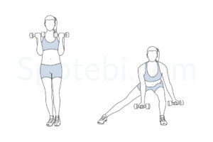 Side lunge curl exercise guide with instructions, demonstration, calories burned and muscles worked. Learn proper form, discover all health benefits and choose a workout. http://www.spotebi.com/exercise-guide/side-lunge-curl/