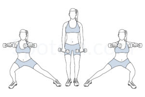 Side lunge front raise exercise guide with instructions, demonstration, calories burned and muscles worked. Learn proper form, discover all health benefits and choose a workout. http://www.spotebi.com/exercise-guide/side-lunge-front-raise/