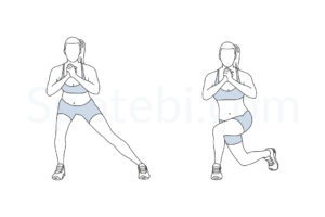 Side lunge to curtsy lunge exercise guide with instructions, demonstration, calories burned and muscles worked. Learn proper form, discover all health benefits and choose a workout. http://www.spotebi.com/exercise-guide/side-lunge-to-curtsy-lunge/
