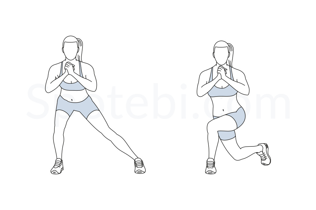 Side lunge to curtsy lunge exercise guide with instructions, demonstration, calories burned and muscles worked. Learn proper form, discover all health benefits and choose a workout. https://www.spotebi.com/exercise-guide/side-lunge-to-curtsy-lunge/
