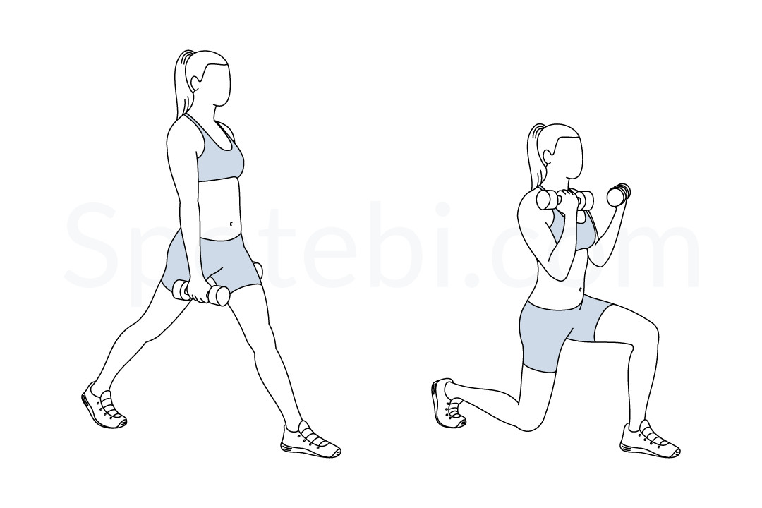 Split squat curl exercise guide with instructions, demonstration, calories burned and muscles worked. Learn proper form, discover all health benefits and choose a workout. https://www.spotebi.com/exercise-guide/split-squat-curl/