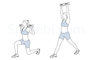 Split squat press exercise guide with instructions, demonstration, calories burned and muscles worked. Learn proper form, discover all health benefits and choose a workout. https://www.spotebi.com/exercise-guide/split-squat-press/