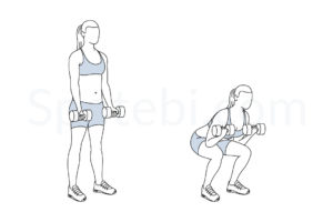 Squat curl exercise guide with instructions, demonstration, calories burned and muscles worked. Learn proper form, discover all health benefits and choose a workout. http://www.spotebi.com/exercise-guide/squat-curl/