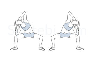 Sumo side bends exercise guide with instructions, demonstration, calories burned and muscles worked. Learn proper form, discover all health benefits and choose a workout. https://www.spotebi.com/exercise-guide/sumo-side-bends/