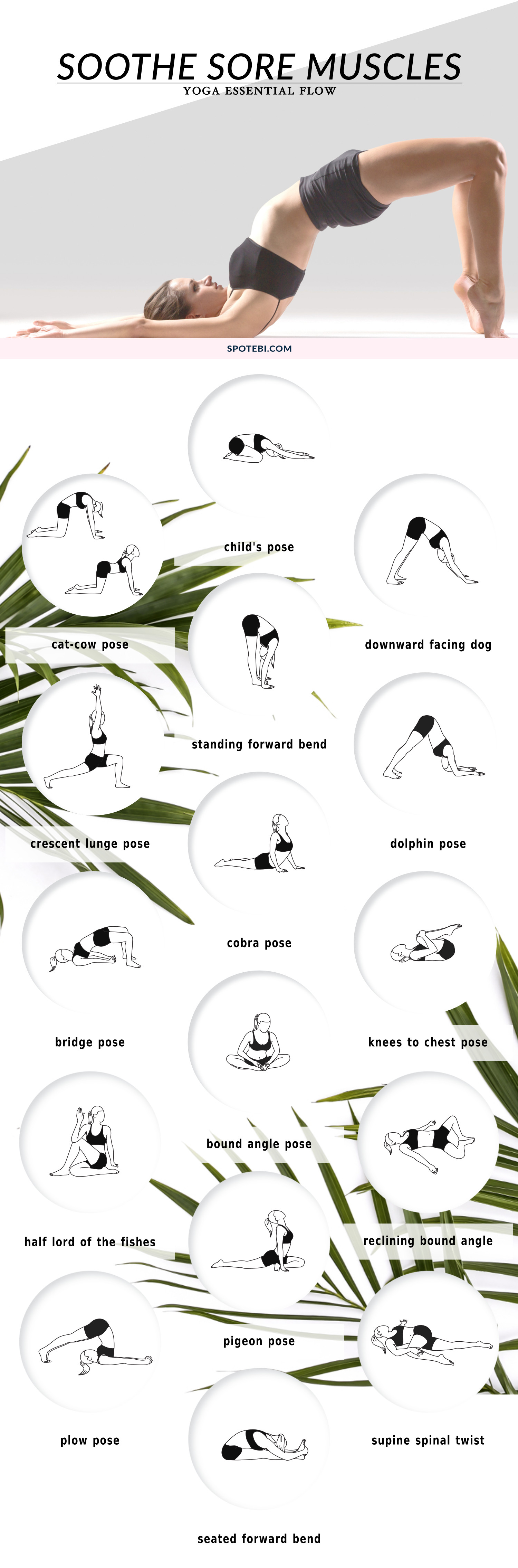Having sore muscles after an intense workout is very common, especially for beginners who are just starting out. This gentle and invigorating yoga sequence will help you ease post-workout muscle soreness and increase your mobility and flexibility for future workouts. https://www.spotebi.com/yoga-sequences/soothe-sore-muscles-flow/