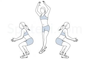 180 jump squat exercise guide with instructions, demonstration, calories burned and muscles worked. Learn proper form, discover all health benefits and choose a workout. http://www.spotebi.com/exercise-guide/180-jump-squat/