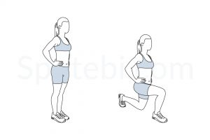 Walking lunges exercise guide with instructions, demonstration, calories burned and muscles worked. Learn proper form, discover all health benefits and choose a workout. https://www.spotebi.com/exercise-guide/walking-lunges/
