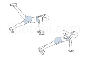 Alternating plank row leg raise exercise guide with instructions, demonstration, calories burned and muscles worked. Learn proper form, discover all health benefits and choose a workout. https://www.spotebi.com/exercise-guide/alternating-plank-row-leg-raise/