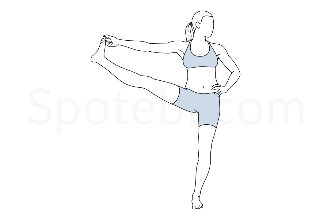 Extended hand to big toe pose (Utthita Hasta Padangusthasana) instructions, illustration, and mindfulness practice. Learn about preparatory, complementary and follow-up poses, and discover all health benefits. https://www.spotebi.com/exercise-guide/extended-hand-to-big-toe-pose/