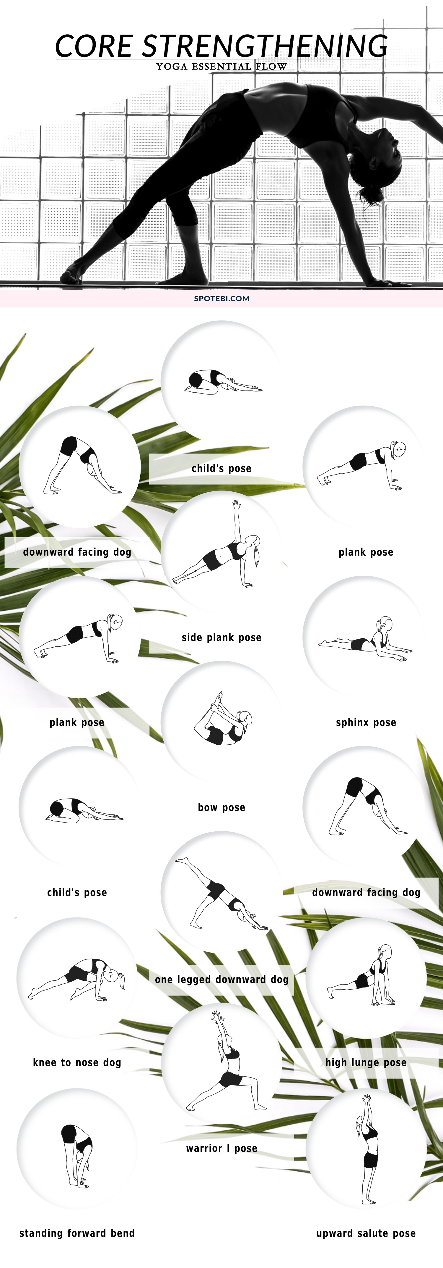 Build core strength, improve range of motion and develop long and lean muscles that will power up all your yoga flows. Focus on your breath and allow your body and mind to relax as you move through these core strengthening poses. https://www.spotebi.com/yoga-sequences/core-strengthening-flow/