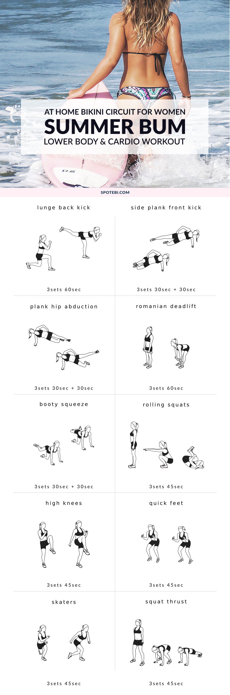Try this lower body and cardio workout, part of the Bikini Body Edition, to tighten your core, tone your legs and sculpt a sexy beach bum. Grab a set of dumbbells, turn on the music and start the countdown to your best summer body! https://www.spotebi.com/workout-routines/lower-body-and-cardio-workout/