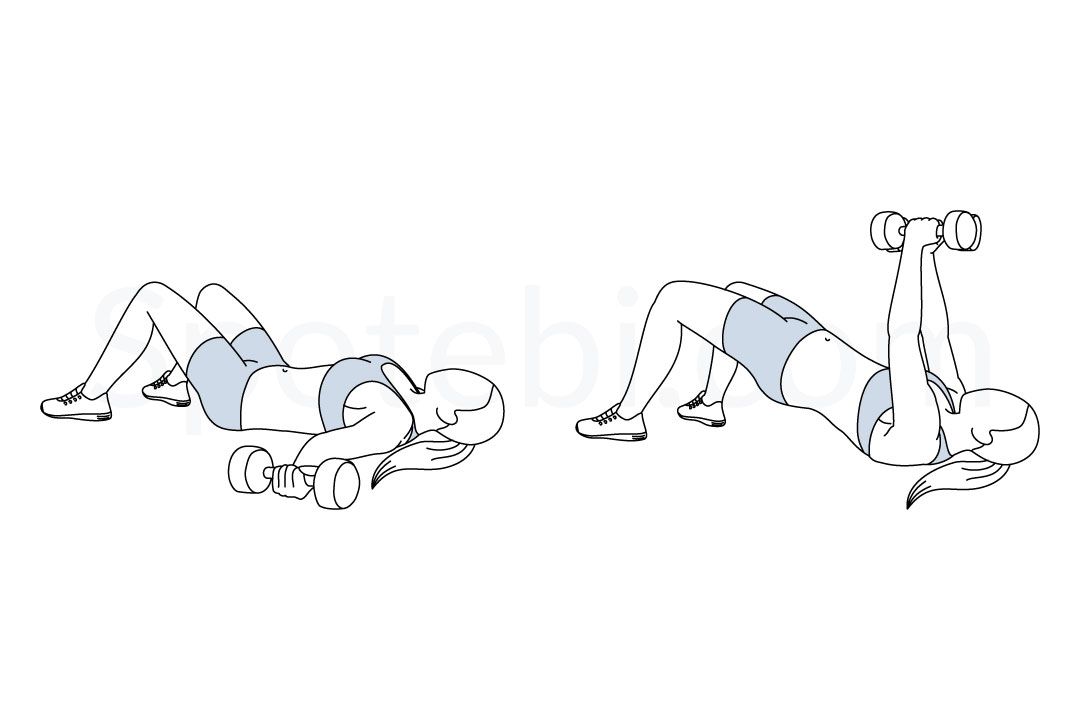 Chest fly glute bridge exercise guide with instructions, demonstration, calories burned and muscles worked. Learn proper form, discover all health benefits and choose a workout. https://www.spotebi.com/exercise-guide/chest-fly-glute-bridge/