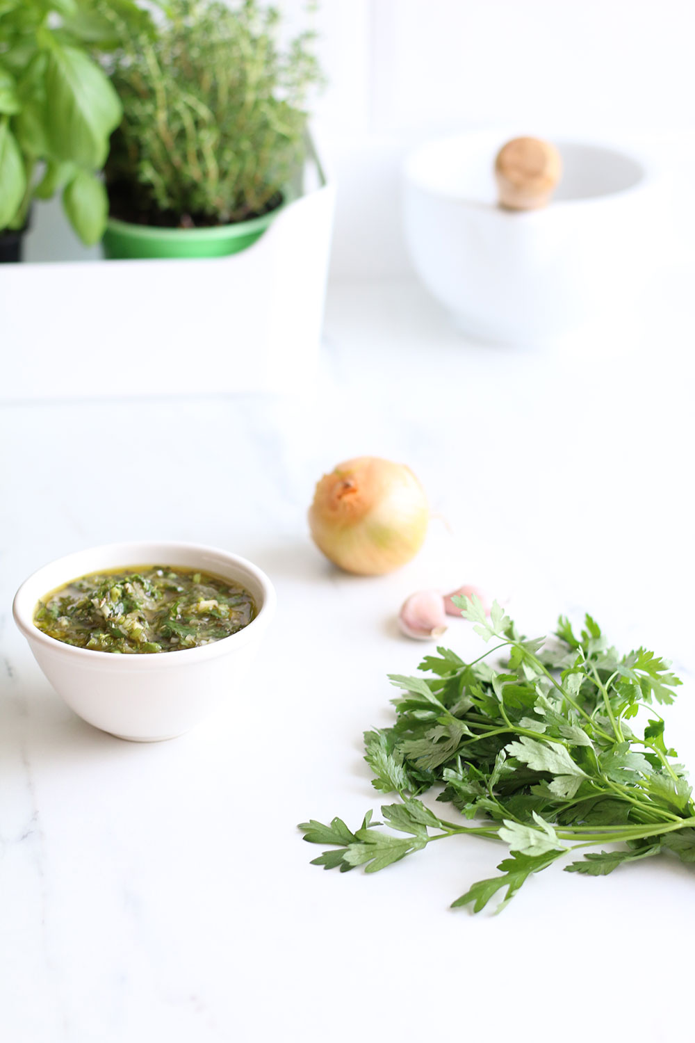 Healthy Chimichurri Sauce Recipe: Perfect for grilled meat, fish and veggies and to marinate meat! https://www.spotebi.com/recipes/chimichurri-sauce/