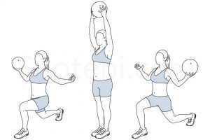 Reverse lunge medicine ball overhead press exercise guide with instructions, demonstration, calories burned and muscles worked. Learn proper form, discover all health benefits and choose a workout. https://www.spotebi.com/exercise-guide/reverse-lunge-medicine-ball-overhead-press/