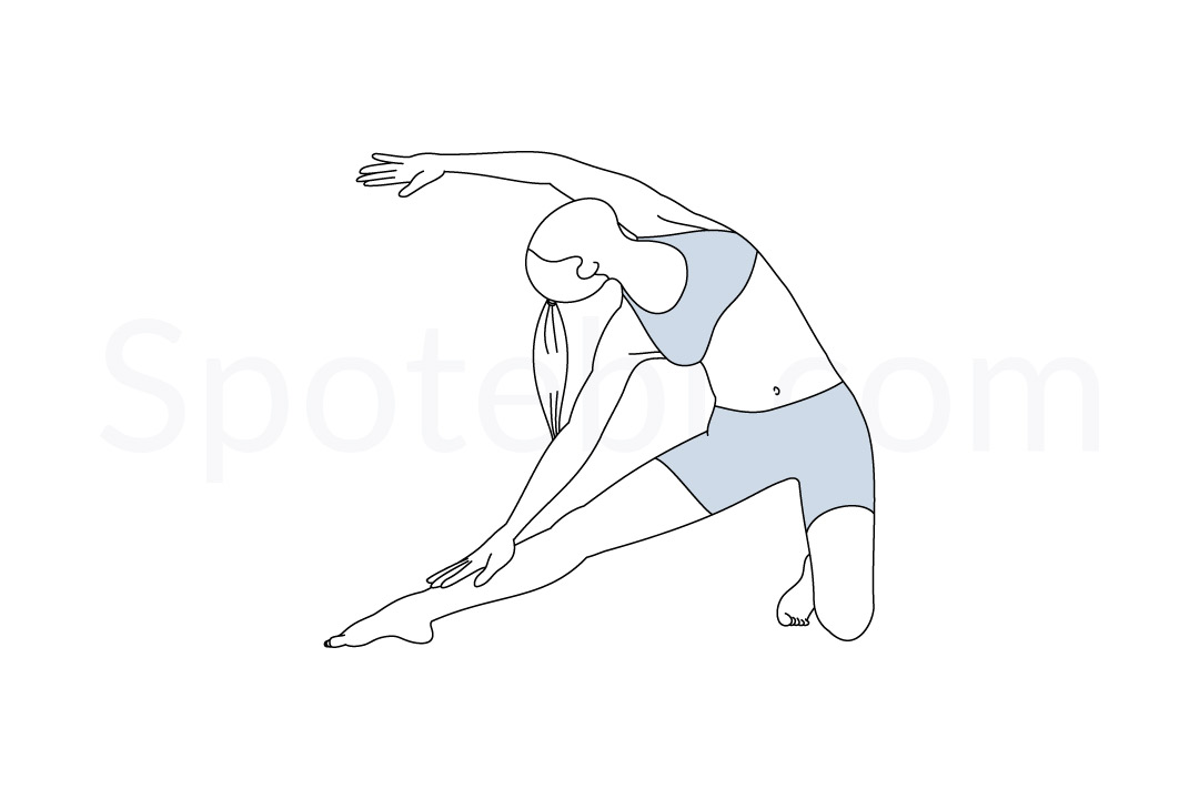 Gate pose (Parighasana) instructions, illustration, and mindfulness practice. Learn about preparatory, complementary and follow-up poses, and discover all health benefits. https://www.spotebi.com/exercise-guide/gate-pose/