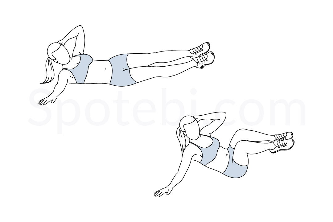 Oblique crunch exercise guide with instructions, demonstration, calories burned and muscles worked. Learn proper form, discover all health benefits and choose a workout. https://www.spotebi.com/exercise-guide/oblique-crunch/