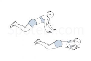 Staggered Arm Knee Push Up Exercise Guide / @spotebi
