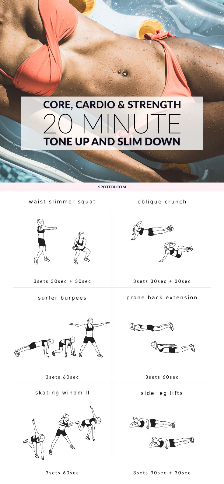 Make every minute count with this 20 Minute Workout! A quick routine designed to be fun, effective, and best of all, help you remove body fat! Get that flat tummy you always wanted, and improve your strength and cardiovascular endurance in just a few minutes a day! https://www.spotebi.com/workout-routines/20-minute-workout-core-cardio-strength/