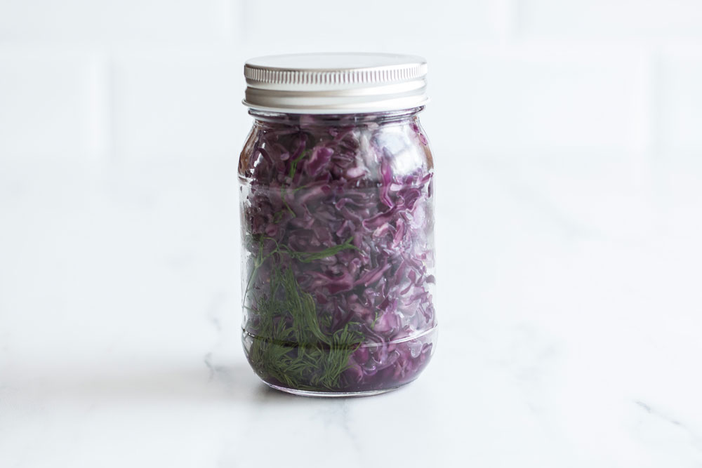 Purple Cabbage Sauerkraut Recipe: A naturally fermented functional food to help reduce bloating and boost immunity! https://www.spotebi.com/recipes/fermented-purple-sauerkraut/