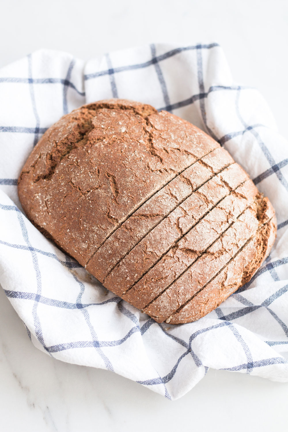 This homemade Mediterranean-style crusty Bread doesn't require more than 2 minutes of kneading and it's low in gluten and high in protein and flavor! https://www.spotebi.com/recipes/homemade-mediterranean-style-crusty-bread/