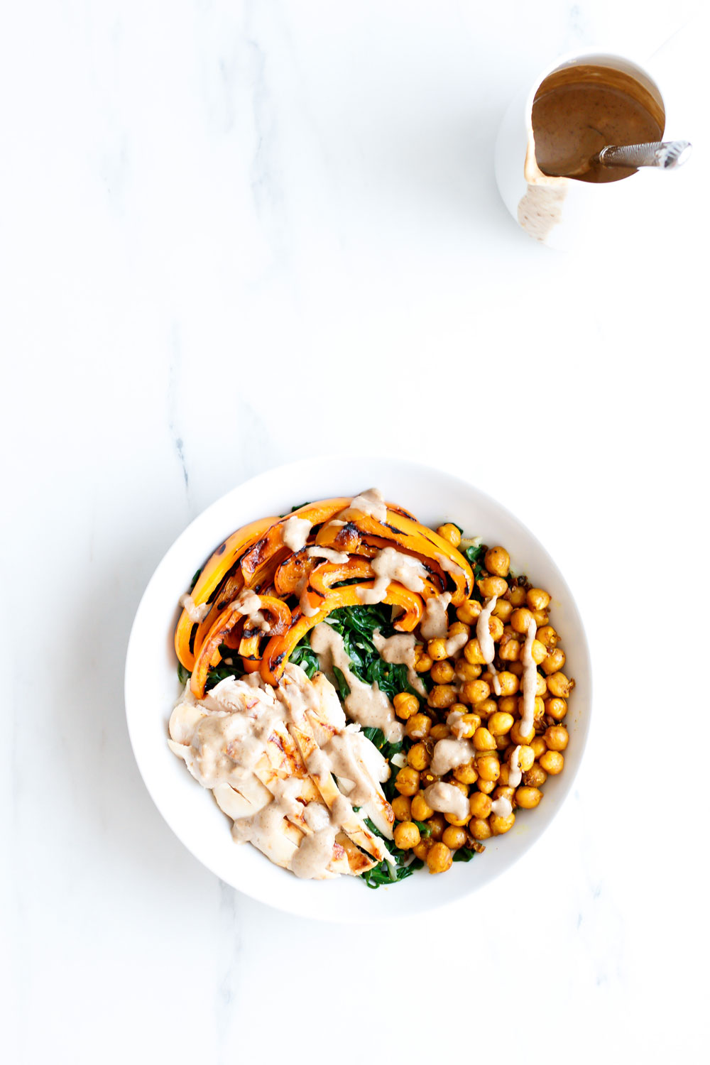 Roasted Chickpea Salad Recipe With Tahini Dressing: Healthy, well-balanced and delish! https://www.spotebi.com/recipes/roasted-chickpea-salad-recipe-with-tahini-dressing/