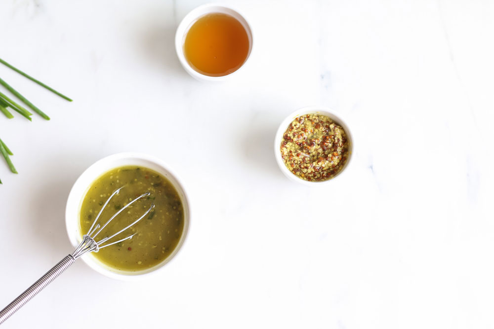 Honey Mustard Salad Dressing Recipe: Simple homemade vinaigrette, perfect for dressing slightly bitter greens! https://www.spotebi.com/recipes/honey-mustard-salad-dressing/
