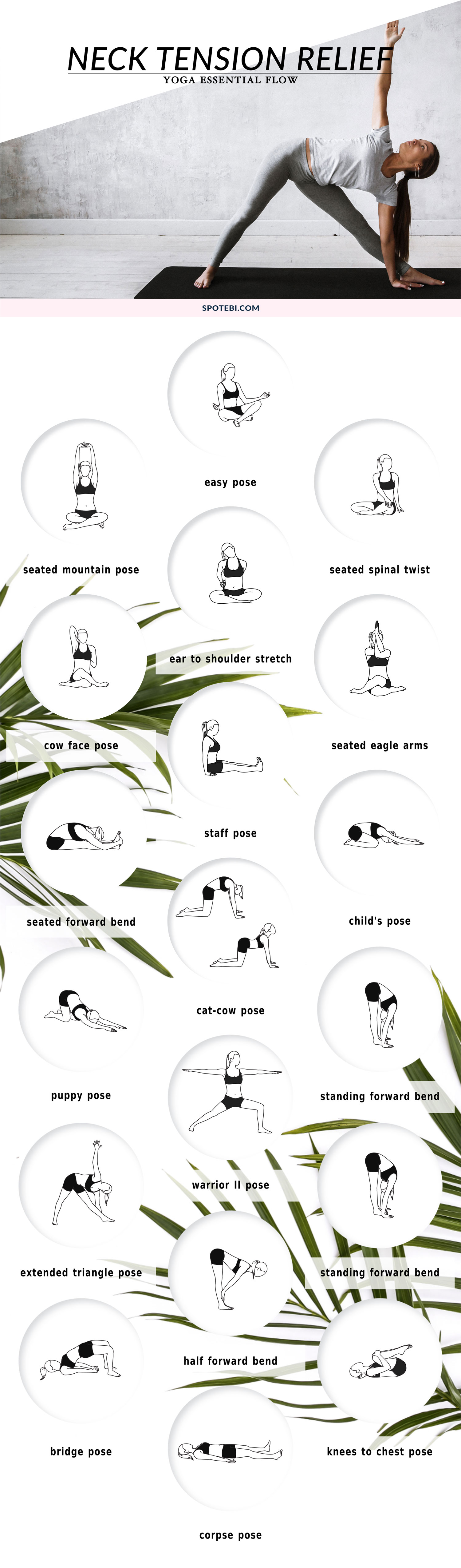 To realign your posture and ease neck and shoulder pain, do this 16-minute yoga flow at least once a week. Feel the movement in your spine and coordinate the breath with each movement to promote neuromuscular reeducation and create change that leads to more functional movement patterns. https://www.spotebi.com/yoga-sequences/neck-shoulder-upper-back-tension-relief-flow/