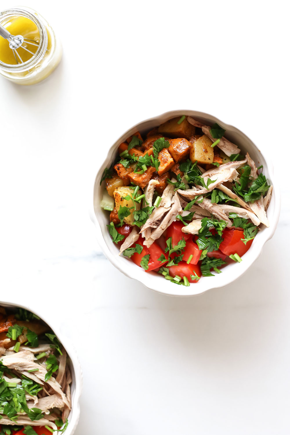 Cajun-Spiced Potato and Chicken Salad Recipe: Quintessential veggie base with a lean protein, a flavorful topping, and a classic dressing. https://www.spotebi.com/recipes/cajun-spiced-potato-chicken-salad/