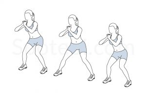 Lateral walk exercise guide with instructions, demonstration, calories burned and muscles worked. Learn proper form, discover all health benefits and choose a workout. https://www.spotebi.com/exercise-guide/lateral-walk/