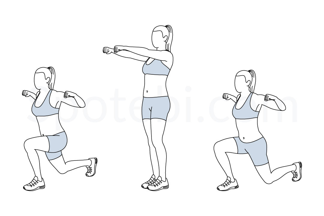 Shoulder squeeze reverse lunge exercise guide with instructions, demonstration, calories burned and muscles worked. Learn proper form, discover all health benefits and choose a workout. https://www.spotebi.com/exercise-guide/shoulder-squeeze-reverse-lunge/