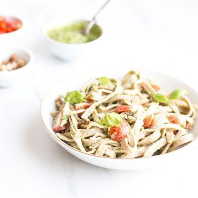 Chickpea & Spelt Fresh Pasta with Homemade Pesto Sauce Recipe / @spotebi