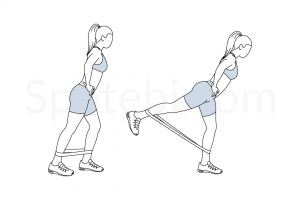 Band kickback exercise guide with instructions, demonstration, calories burned and muscles worked. Learn proper form, discover all health benefits and choose a workout. https://www.spotebi.com/exercise-guide/band-kickback/