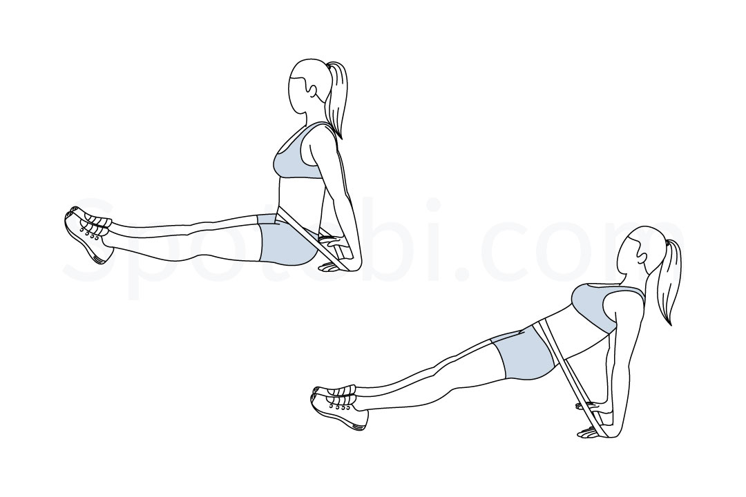 Band reverse plank exercise guide with instructions, demonstration, calories burned and muscles worked. Learn proper form, discover all health benefits and choose a workout. https://www.spotebi.com/exercise-guide/band-reverse-plank/