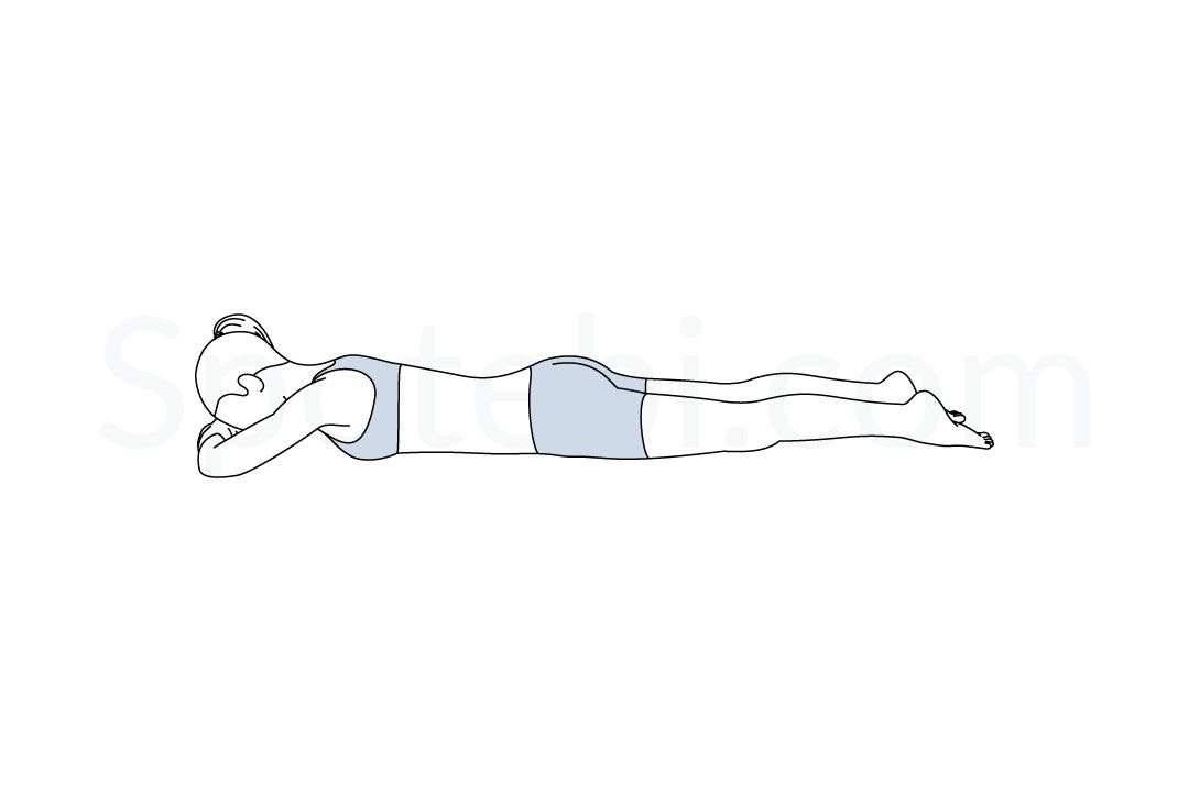 Crocodile pose (Makarasana) instructions, illustration, and mindfulness practice. Learn about preparatory, complementary and follow-up poses, and discover all health benefits. https://www.spotebi.com/exercise-guide/crocodile-pose/