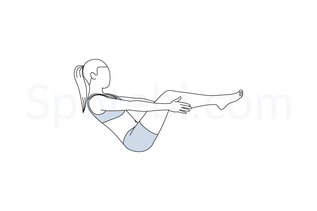 Half boat pose (Ardha Navasana) instructions, illustration, and mindfulness practice. Learn about preparatory, complementary and follow-up poses, and discover all health benefits. https://www.spotebi.com/exercise-guide/half-boat-pose/