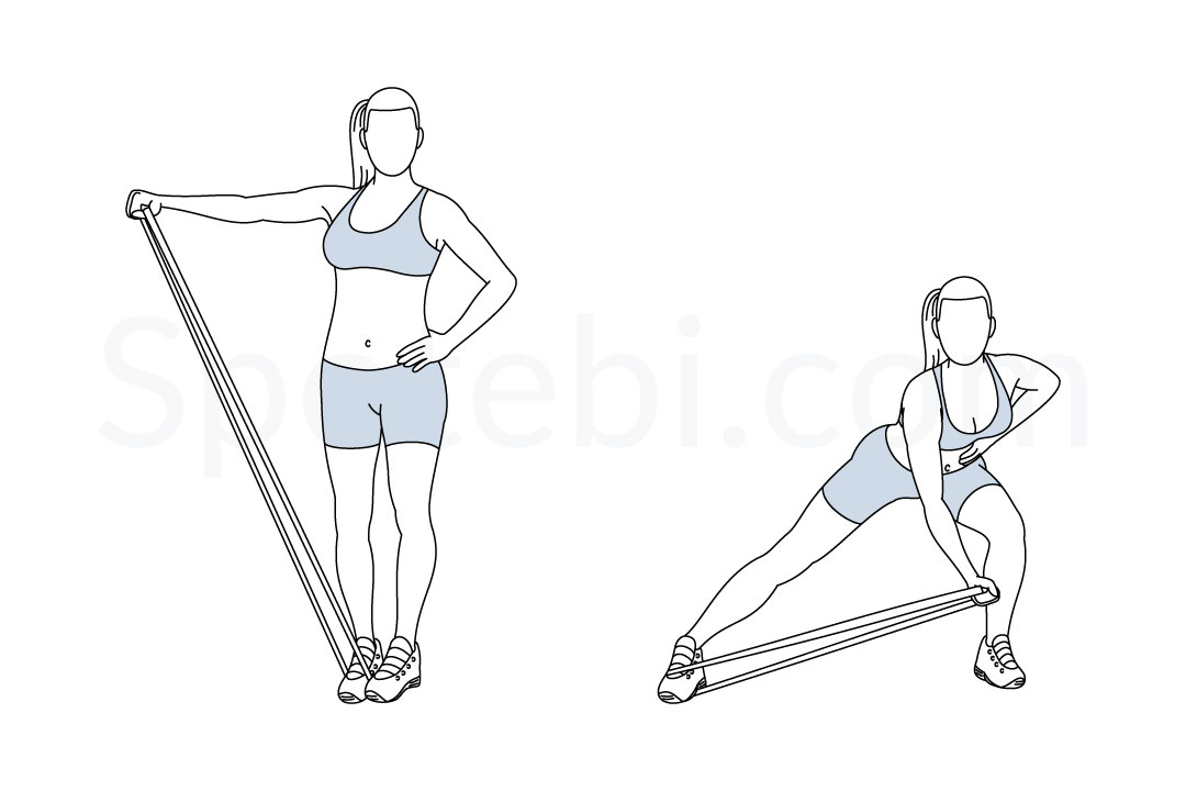 Side lunge band lateral raise exercise guide with instructions, demonstration, calories burned and muscles worked. Learn proper form, discover all health benefits and choose a workout. https://www.spotebi.com/exercise-guide/side-lunge-band-lateral-raise/