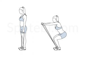 Squat Band Front Raise Exercise Guide / @spotebi