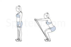 Squat Band Front Raise Exercise Guide / @spotebi