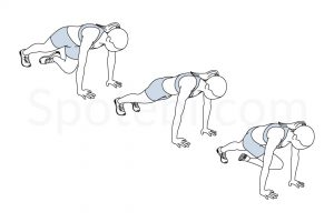 Mountain climber twist exercise guide with instructions, demonstration, calories burned and muscles worked. Learn proper form, discover all health benefits and choose a workout. https://www.spotebi.com/exercise-guide/mountain-climber-twist/